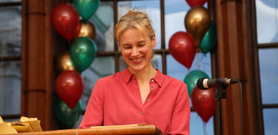 Emma Rampton, Registrary, announcing the winners at a previous event