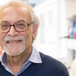 Azim Surani in his lab at the Gurdon Institute