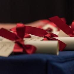 A number of academic scrolls tied with red ribbon