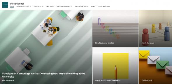A screenshot of the new ourcambridge SharePoint site